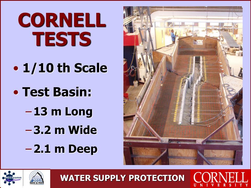WATER SUPPLY PROTECTION CORNELL TESTS 1/10 th Scale1/10 th Scale Test Basin:Test Basin: –13 m Long –3.2 m Wide –2.1 m Deep