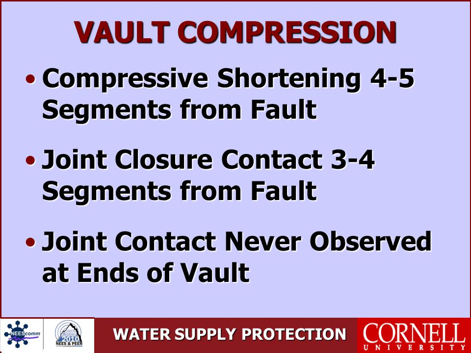 WATER SUPPLY PROTECTION VAULT COMPRESSION Compressive Shortening 4-5 Segments from FaultCompressive Shortening 4-5 Segments from Fault Joint Closure Contact 3-4 Segments from FaultJoint Closure Contact 3-4 Segments from Fault Joint Contact Never Observed at Ends of VaultJoint Contact Never Observed at Ends of Vault
