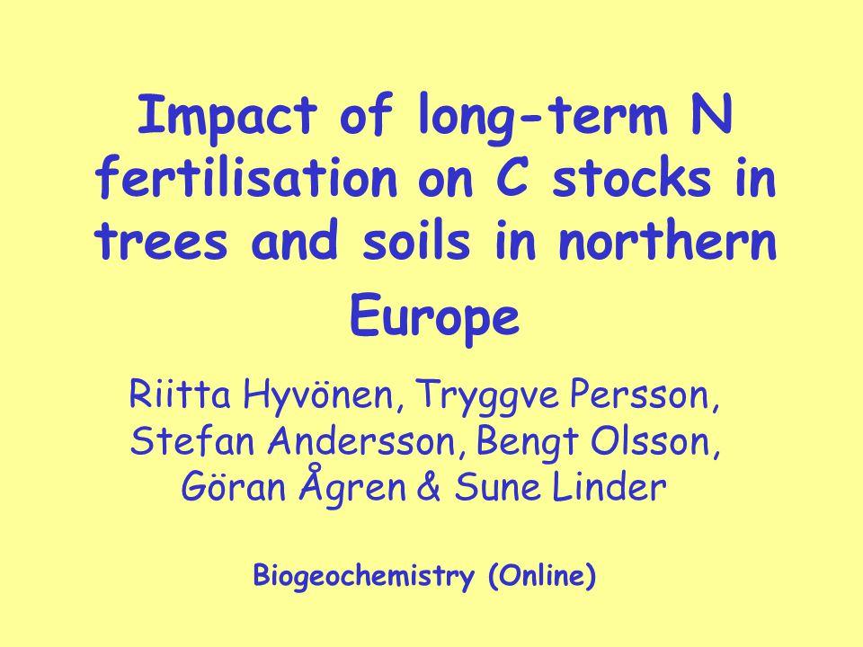 Impact of long-term N fertilisation on C stocks in trees and soils in northern Europe Riitta Hyvönen, Tryggve Persson, Stefan Andersson, Bengt Olsson, Göran Ågren & Sune Linder Biogeochemistry (Online)