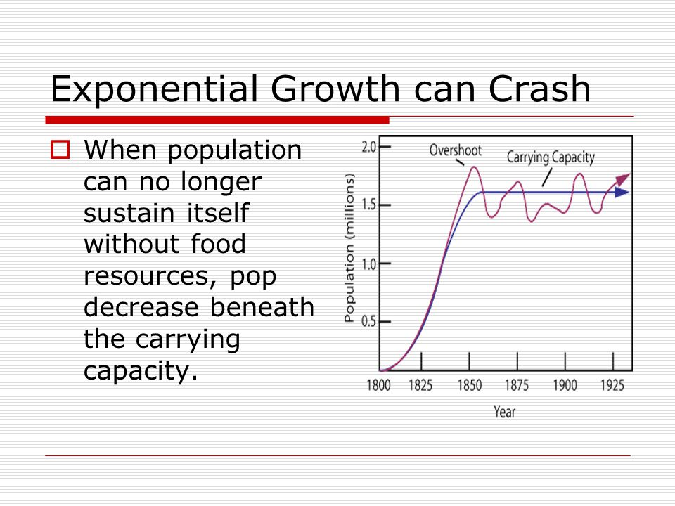 Exponential Growth can Crash  When population can no longer sustain itself without food resources, pop decrease beneath the carrying capacity.