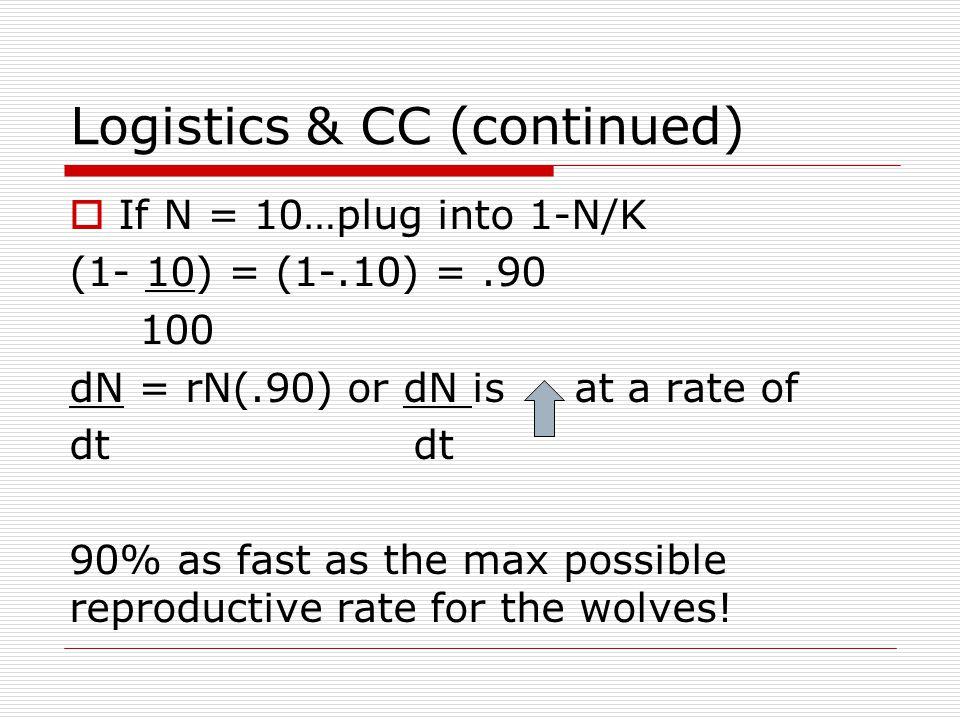 Logistics & CC (continued)  If N = 10…plug into 1-N/K (1- 10) = (1-.10) =.90 100 dN = rN(.90) or dN is at a rate of dt 90% as fast as the max possibl
