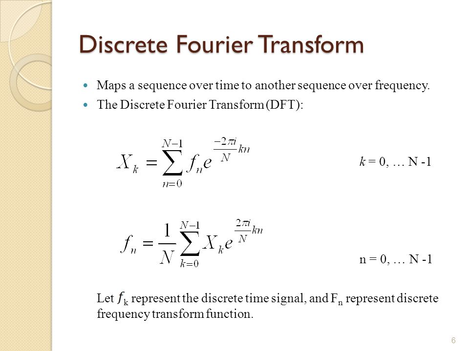 Discrete Fourier Transform Maps a sequence over time to another sequence over frequency.