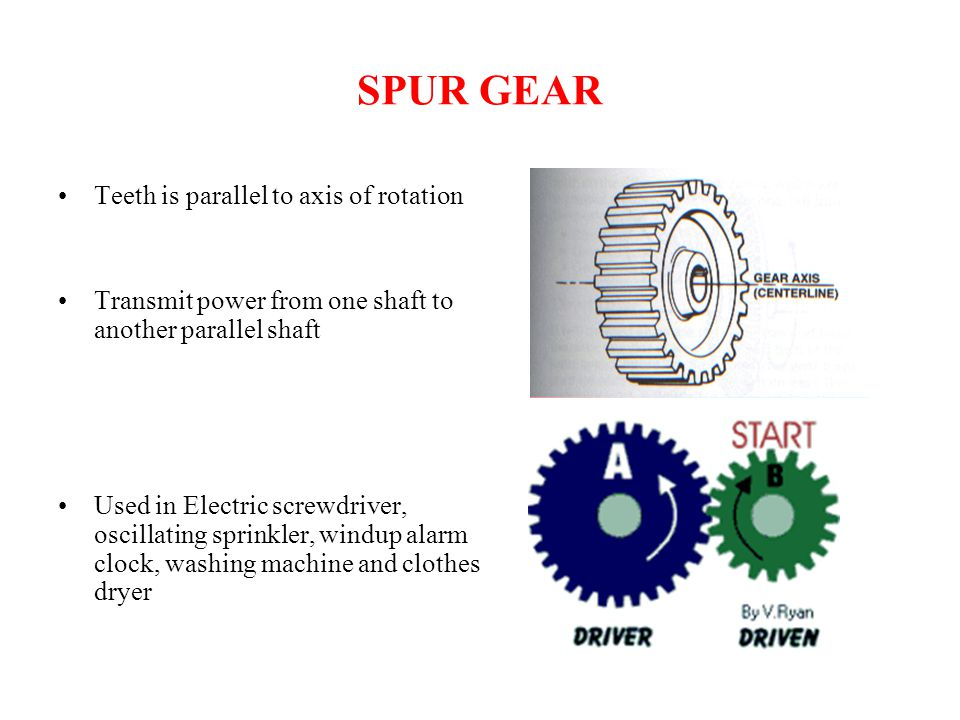 SPUR GEAR Teeth is parallel to axis of rotation Transmit power from one shaft to another parallel shaft Used in Electric screwdriver, oscillating spri