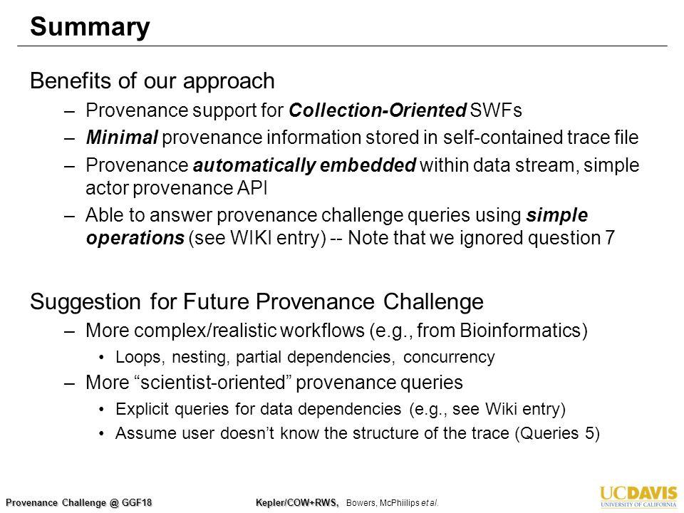 Provenance Challenge @ GGF18 Kepler/COW+RWS, Kepler/COW+RWS, Bowers, McPhiilips et al.