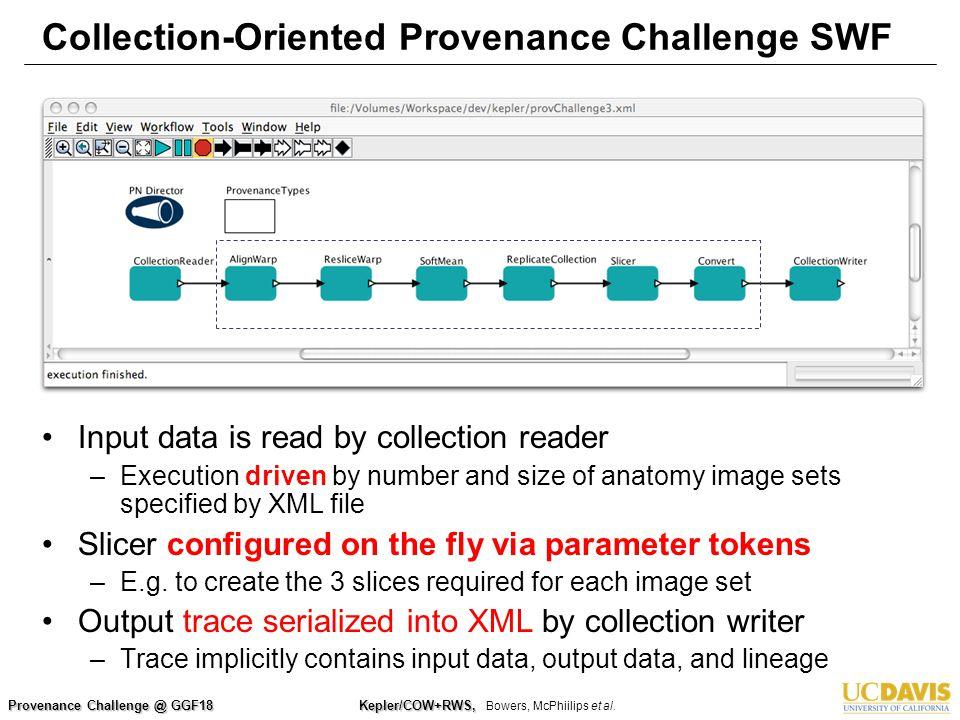 Provenance Challenge @ GGF18 Kepler/COW+RWS, Kepler/COW+RWS, Bowers, McPhiilips et al. Collection-Oriented Provenance Challenge SWF Input data is read