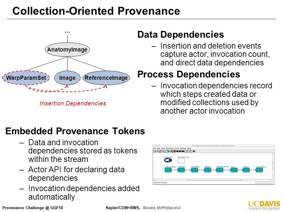Provenance Challenge @ GGF18 Kepler/COW+RWS, Kepler/COW+RWS, Bowers, McPhiilips et al. Collection-Oriented Provenance Embedded Provenance Tokens –Data