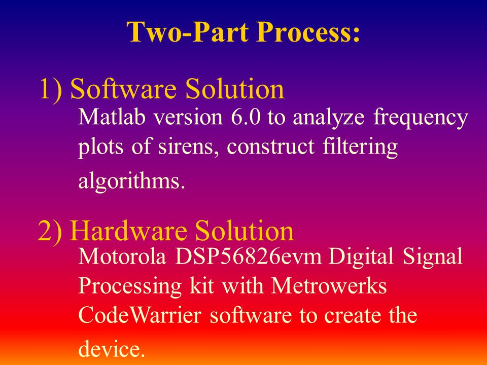 Two-Part Process: 1) Software Solution Matlab version 6.0 to analyze frequency plots of sirens, construct filtering algorithms. 2) Hardware Solution M