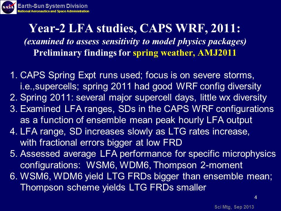 15 Sci Mtg, Sep 2013 Earth-Sun System Division National Aeronautics and Space Administration SPoRT WRF LFA 20120703 findings: LFA LTG threat, 20 UTC