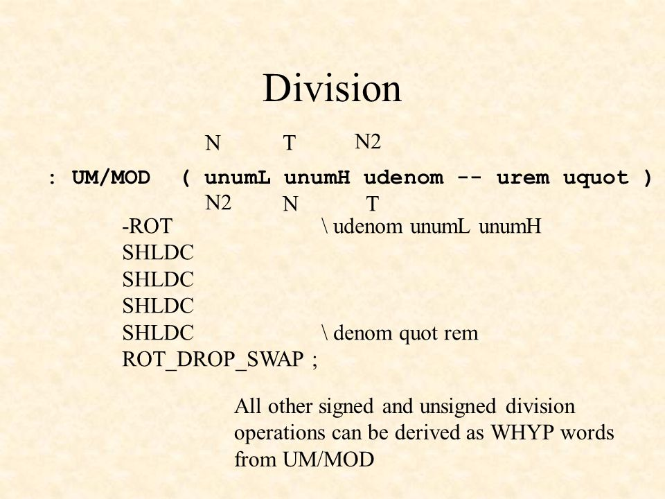 Division : UM/MOD ( unumL unumH udenom -- urem uquot ) All other signed and unsigned division operations can be derived as WHYP words from UM/MOD TN N2 TN -ROT\ udenom unumL unumH SHLDC SHLDC \ denom quot rem ROT_DROP_SWAP ;