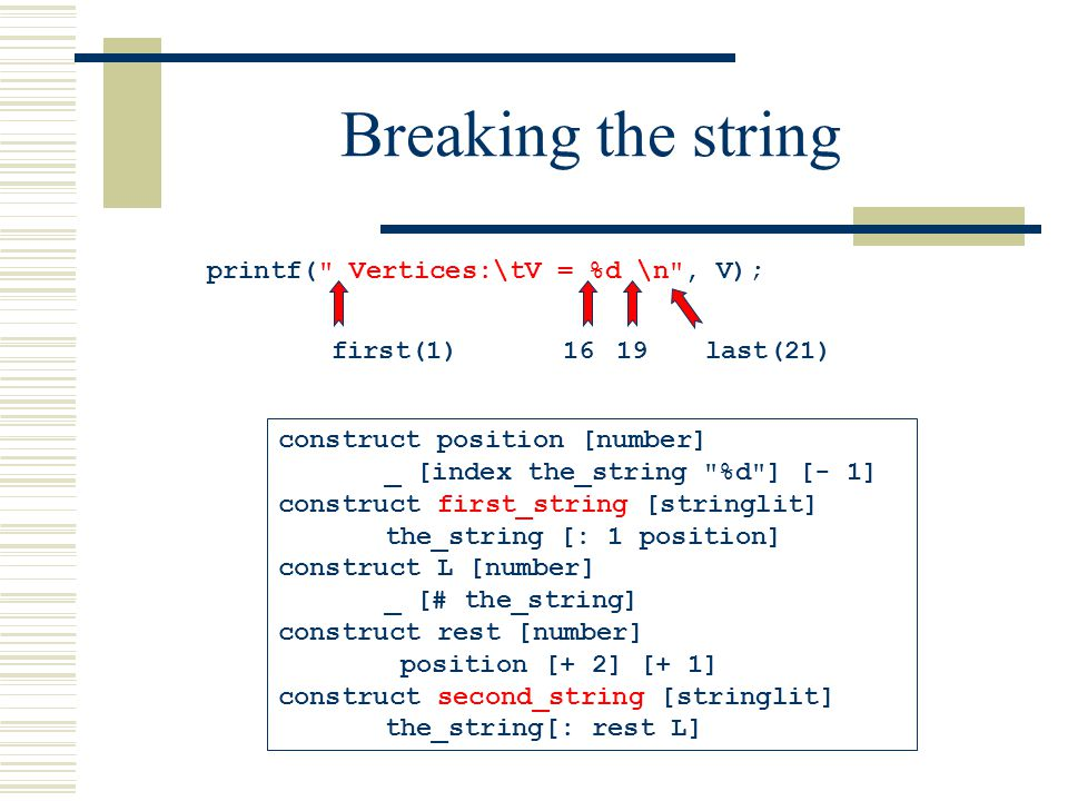 Breaking the string construct position [number] _ [index the_string %d ] [- 1] construct first_string [stringlit] the_string [: 1 position] construct L [number] _ [# the_string] construct rest [number] position [+ 2] [+ 1] construct second_string [stringlit] the_string[: rest L] printf( Vertices:\tV = %d \n , V); first(1)1619last(21)