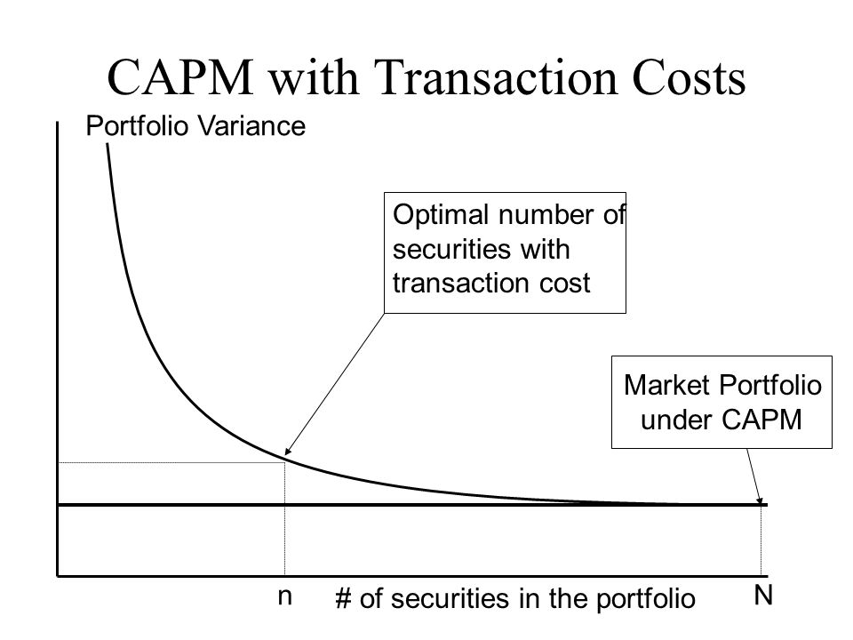 CAPM with Transaction Costs Portfolio Variance # of securities in the portfolio Market Portfolio under CAPM Optimal number of securities with transact