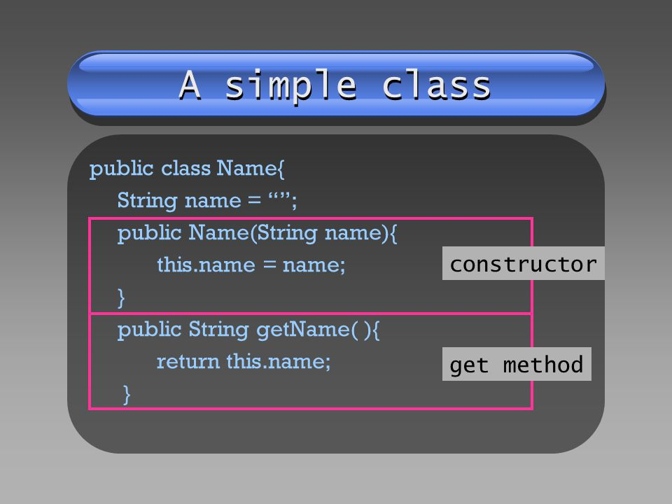 A simple class public class Name{ String name = ; public Name(String name){ this.name = name; } public String getName( ){ return this.name; } constructor get method