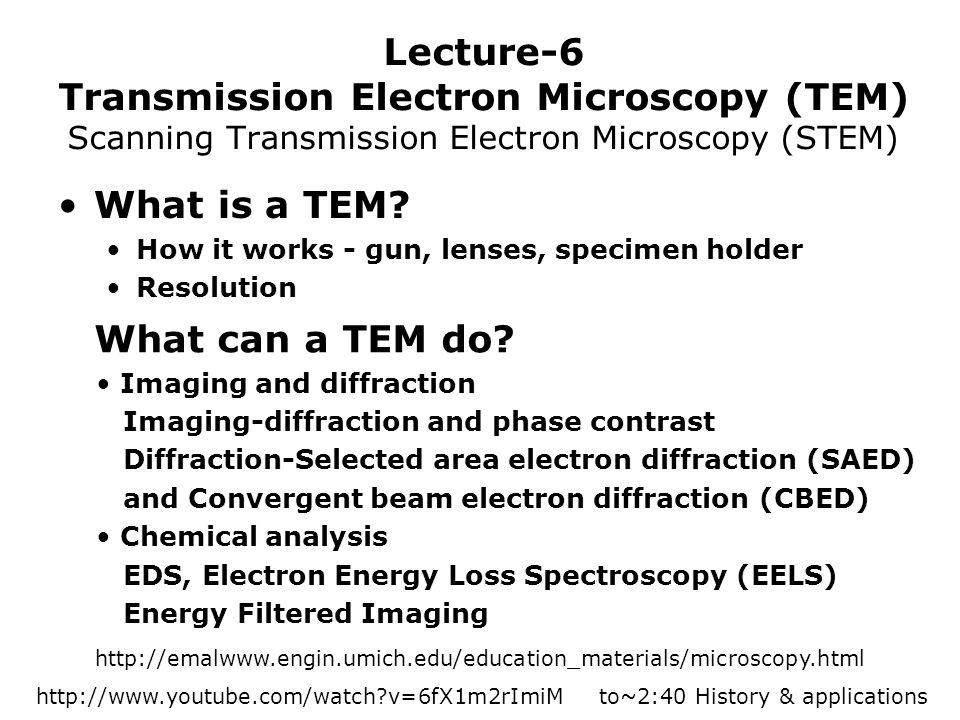 Lecture-6 Transmission Electron Microscopy (TEM) Scanning Transmission Electron Microscopy (STEM) What is a TEM? How it works - gun, lenses, specimen