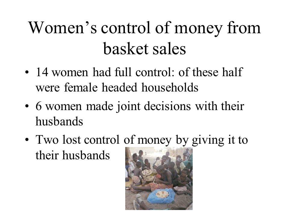 Women's control of money from basket sales 14 women had full control: of these half were female headed households 6 women made joint decisions with their husbands Two lost control of money by giving it to their husbands