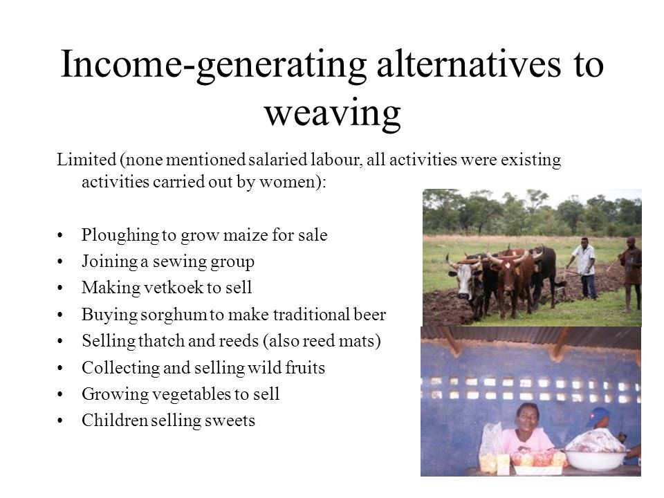 Income-generating alternatives to weaving Limited (none mentioned salaried labour, all activities were existing activities carried out by women): Ploughing to grow maize for sale Joining a sewing group Making vetkoek to sell Buying sorghum to make traditional beer Selling thatch and reeds (also reed mats) Collecting and selling wild fruits Growing vegetables to sell Children selling sweets