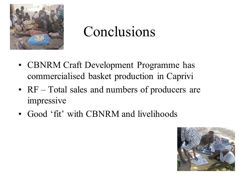 Conclusions CBNRM Craft Development Programme has commercialised basket production in Caprivi RF – Total sales and numbers of producers are impressive Good 'fit' with CBNRM and livelihoods
