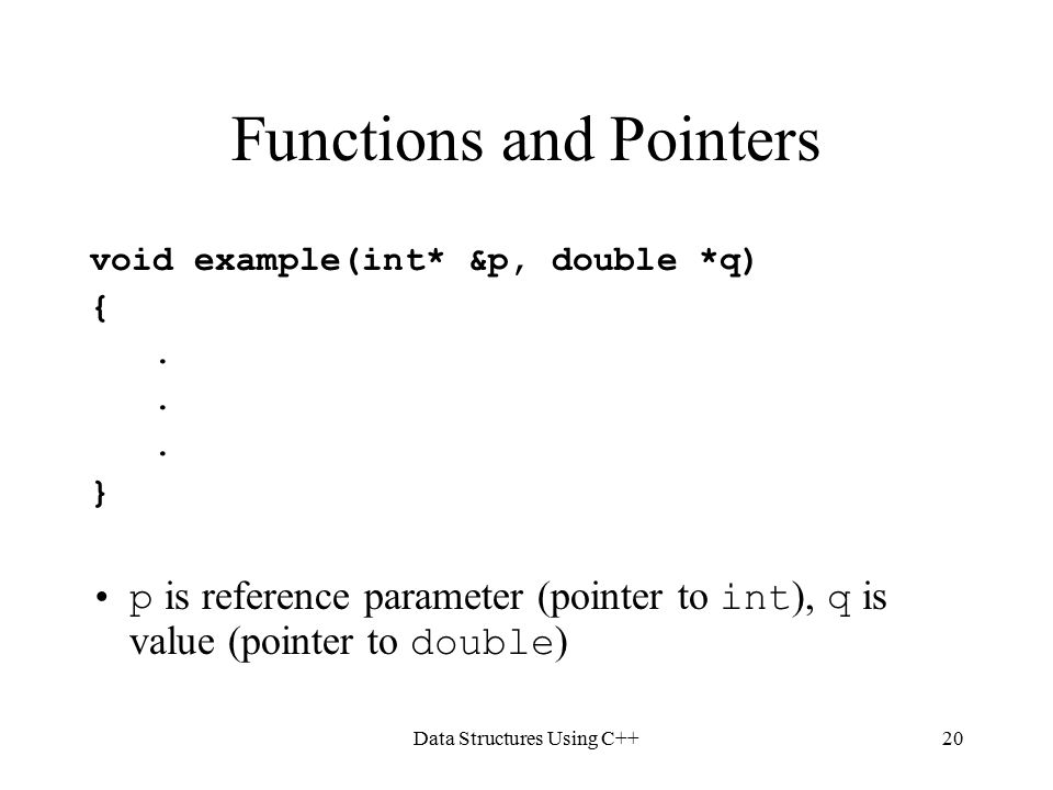 Data Structures Using C++20 Functions and Pointers void example(int* &p, double *q) {.