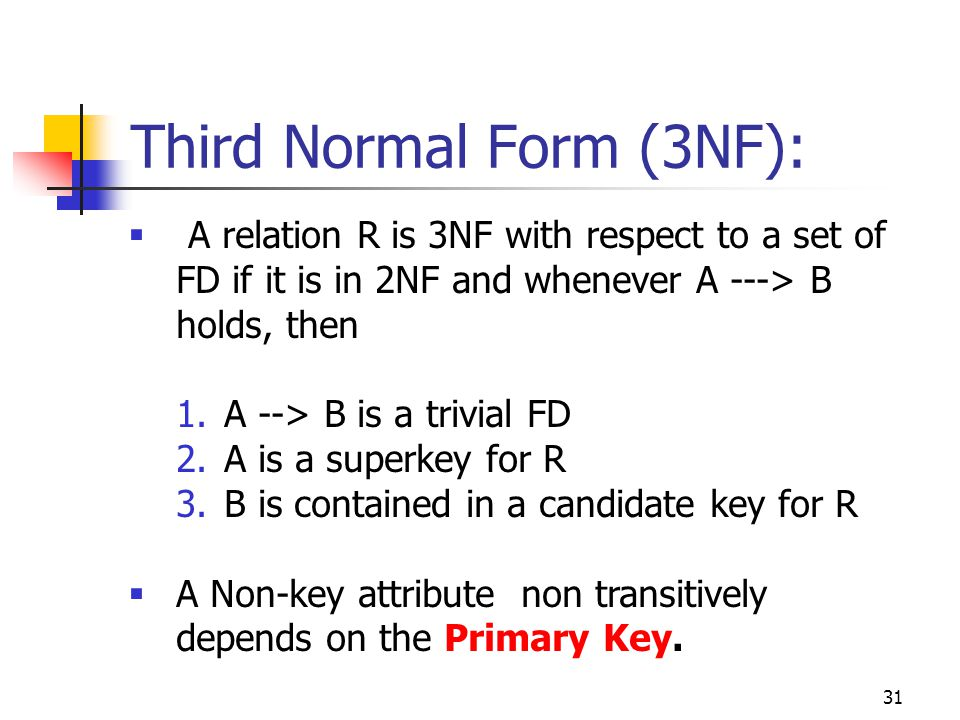 31  A relation R is 3NF with respect to a set of FD if it is in 2NF and whenever A ---> B holds, then 1.A --> B is a trivial FD 2.A is a superkey for R 3.B is contained in a candidate key for R  A Non-key attribute non transitively depends on the Primary Key.