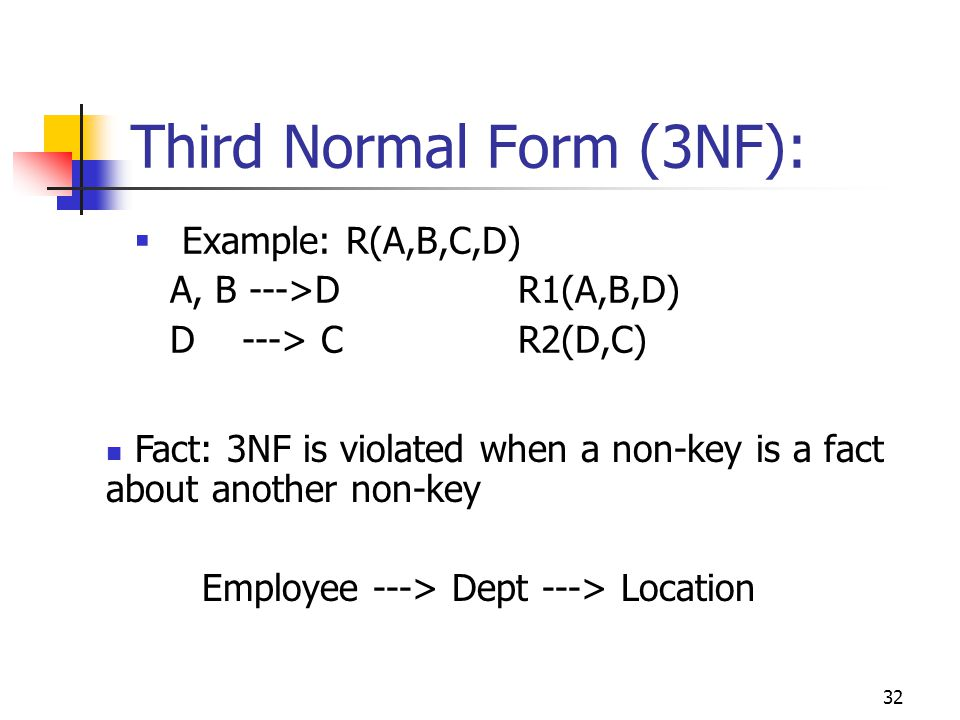 32 Third Normal Form (3NF):  Example: R(A,B,C,D) A, B --->DR1(A,B,D) D ---> CR2(D,C) Fact: 3NF is violated when a non-key is a fact about another non-key Employee ---> Dept ---> Location