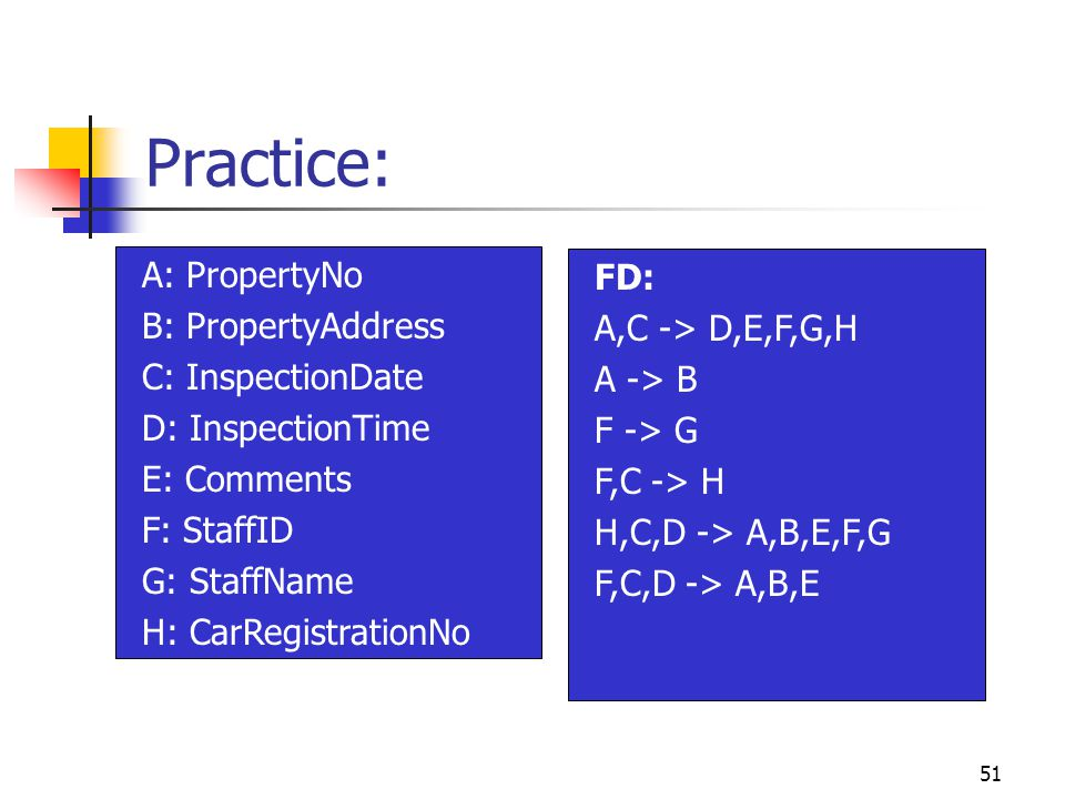 51 Practice: A: PropertyNo B: PropertyAddress C: InspectionDate D: InspectionTime E: Comments F: StaffID G: StaffName H: CarRegistrationNo FD: A,C -> D,E,F,G,H A -> B F -> G F,C -> H H,C,D -> A,B,E,F,G F,C,D -> A,B,E