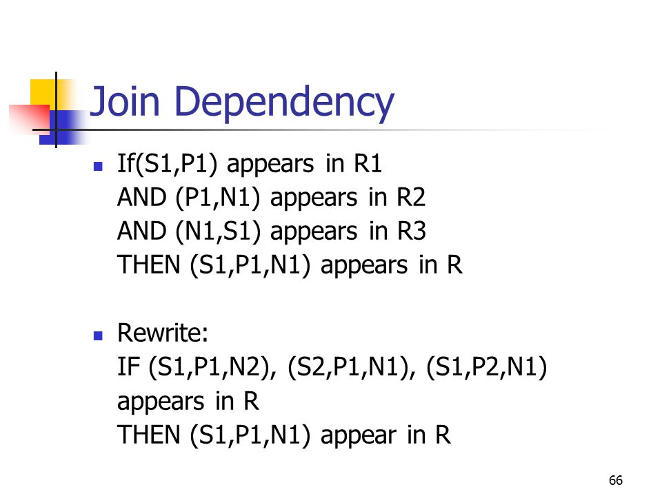 66 Join Dependency If(S1,P1) appears in R1 AND (P1,N1) appears in R2 AND (N1,S1) appears in R3 THEN (S1,P1,N1) appears in R Rewrite: IF (S1,P1,N2), (S2,P1,N1), (S1,P2,N1) appears in R THEN (S1,P1,N1) appear in R