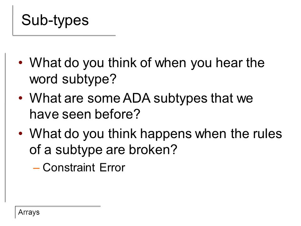 Arrays Sub-types What do you think of when you hear the word subtype.