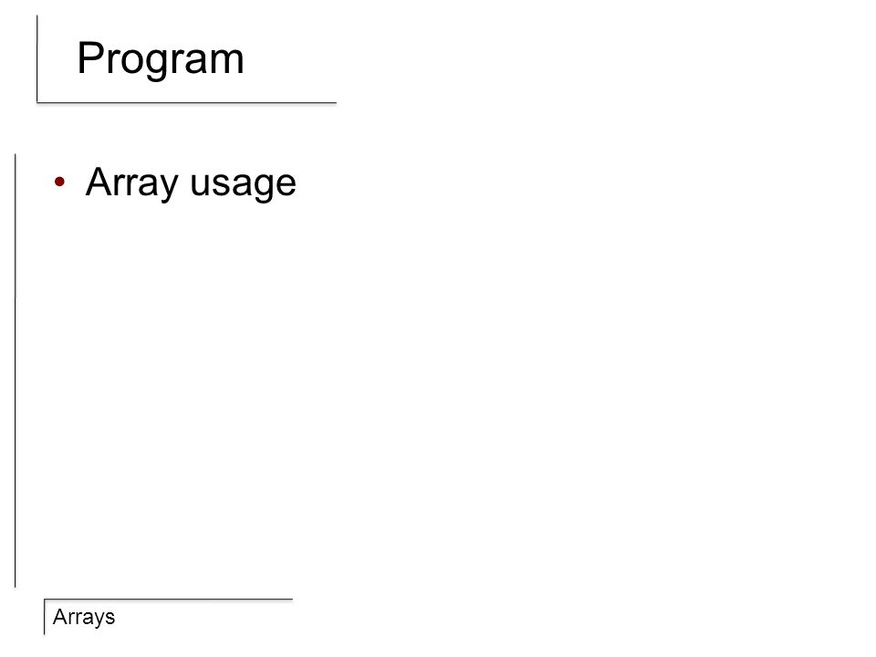 Arrays Program Array usage