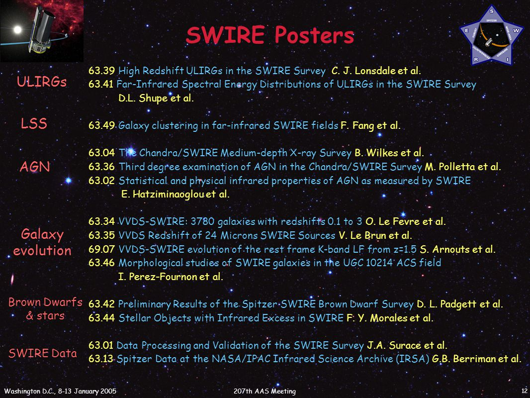 207th AAS Meeting Washington D.C., 8-13 January 2005 12 SWIRE Posters ULIRGs LSS AGN Galaxy evolution Brown Dwarfs & stars SWIRE Data 63.39 High Redshift ULIRGs in the SWIRE Survey C.