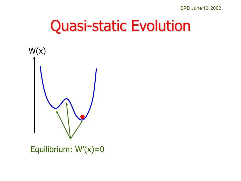 SPD June 16, 2003 Quasi-static Evolution W(x) Equilibrium: W'(x)=0