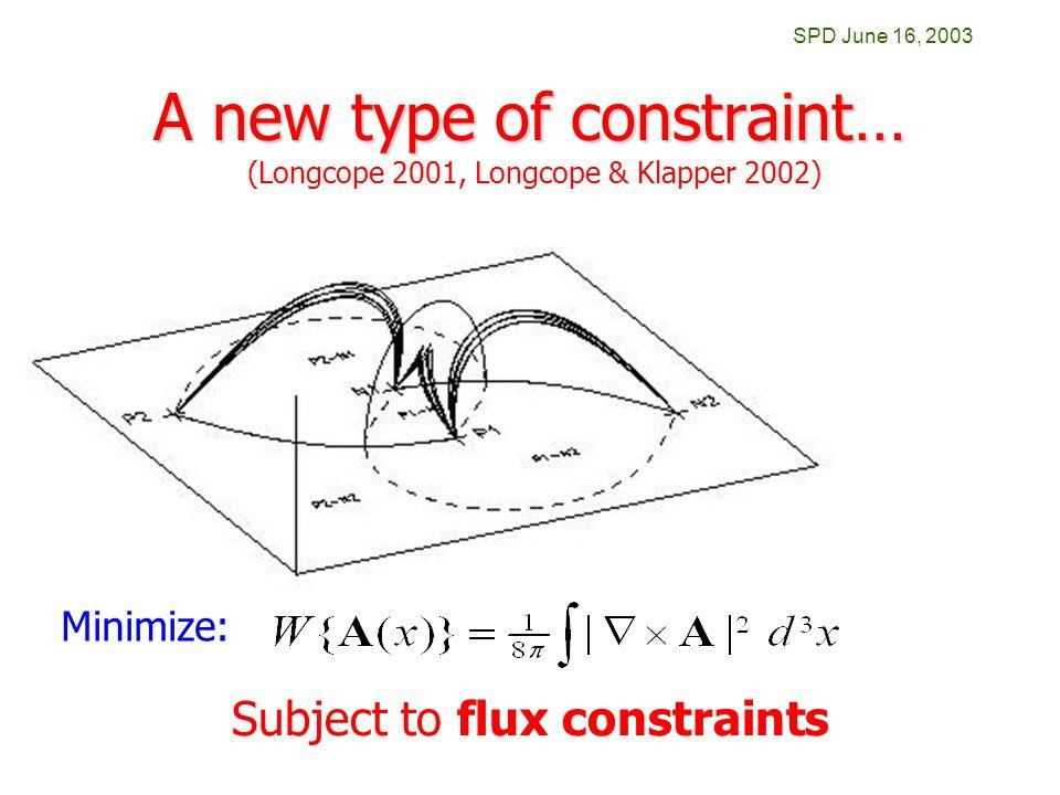 SPD June 16, 2003 A new type of constraint… Minimize: Subject to flux constraints (Longcope 2001, Longcope & Klapper 2002)