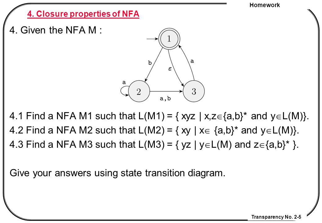 Homework Transparency No. 2-5 4. Closure properties of NFA 4.