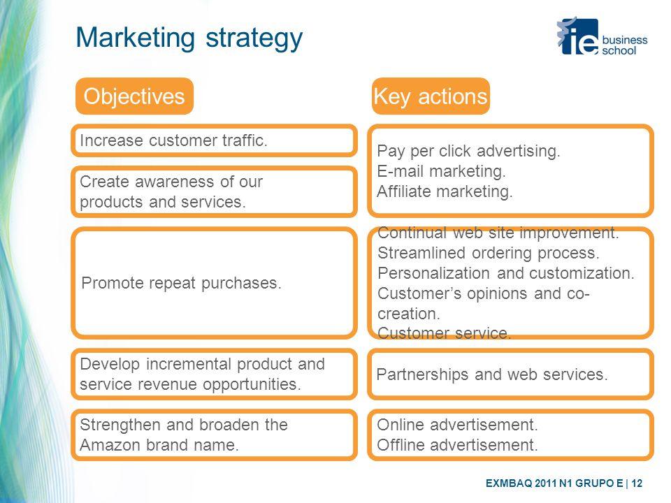 EXMBAQ 2011 N1 GRUPO E | 12 Marketing strategy Increase customer traffic. Objectives Pay per click advertising. E-mail marketing. Affiliate marketing.