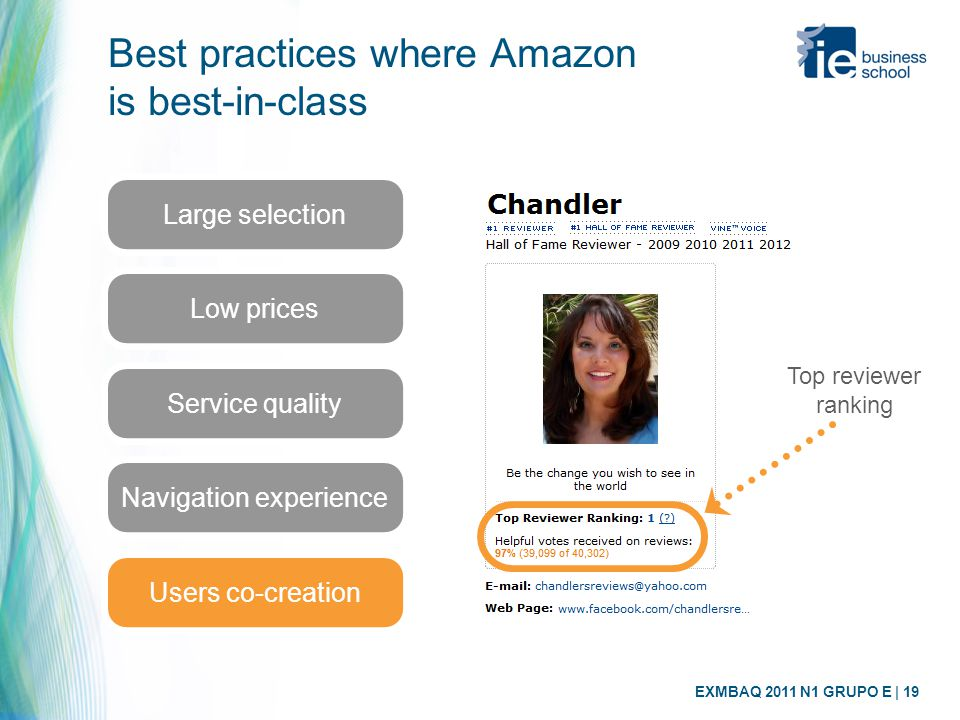 EXMBAQ 2011 N1 GRUPO E | 19 Best practices where Amazon is best-in-class Large selection Low prices Service quality Navigation experience Users co-cre