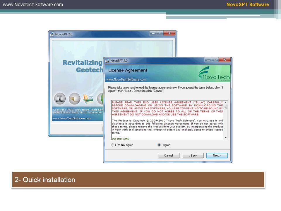 www.NovotechSoftware.com 2- Quick installation NovoSPT Software