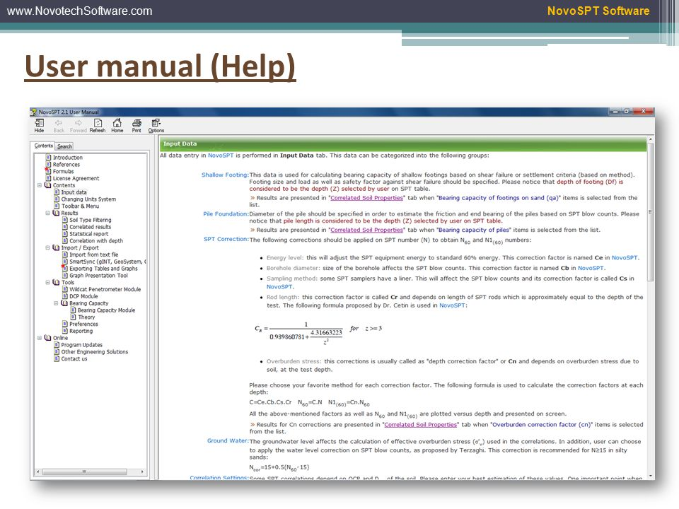 www.NovotechSoftware.comNovoSPT Software User manual (Help)