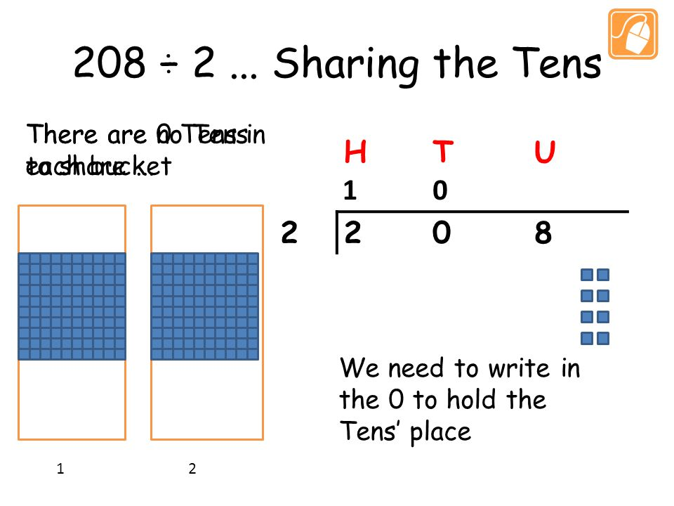 208 ÷ 2... Sharing the Tens HTU 2208 1 2 There are no Tens to share...