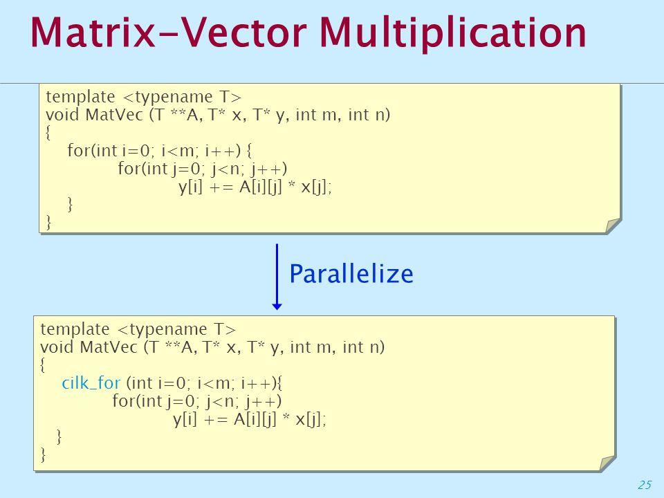 25 Matrix-Vector Multiplication template void MatVec (T **A, T* x, T* y, int m, int n) { for(int i=0; i<m; i++) { for(int j=0; j<n; j++) y[i] += A[i][j] * x[j]; } template void MatVec (T **A, T* x, T* y, int m, int n) { for(int i=0; i<m; i++) { for(int j=0; j<n; j++) y[i] += A[i][j] * x[j]; } template void MatVec (T **A, T* x, T* y, int m, int n) { cilk_for (int i=0; i<m; i++){ for(int j=0; j<n; j++) y[i] += A[i][j] * x[j]; } template void MatVec (T **A, T* x, T* y, int m, int n) { cilk_for (int i=0; i<m; i++){ for(int j=0; j<n; j++) y[i] += A[i][j] * x[j]; } Parallelize