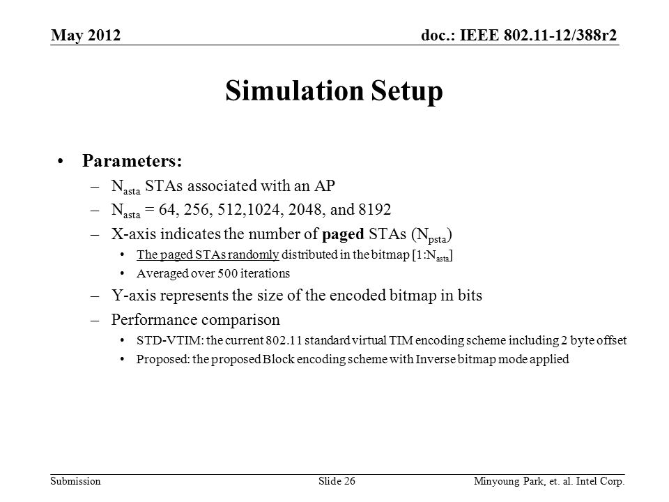 doc.: IEEE 802.11-12/388r2 Submission Simulation Setup Parameters: –N asta STAs associated with an AP –N asta = 64, 256, 512,1024, 2048, and 8192 –X-a