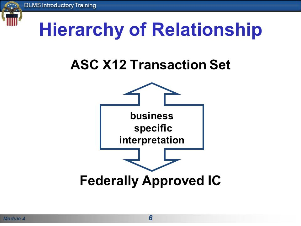 Module 4 6 DLMS Introductory Training Hierarchy of Relationship ASC X12 Transaction Set Federally Approved IC business specific interpretation
