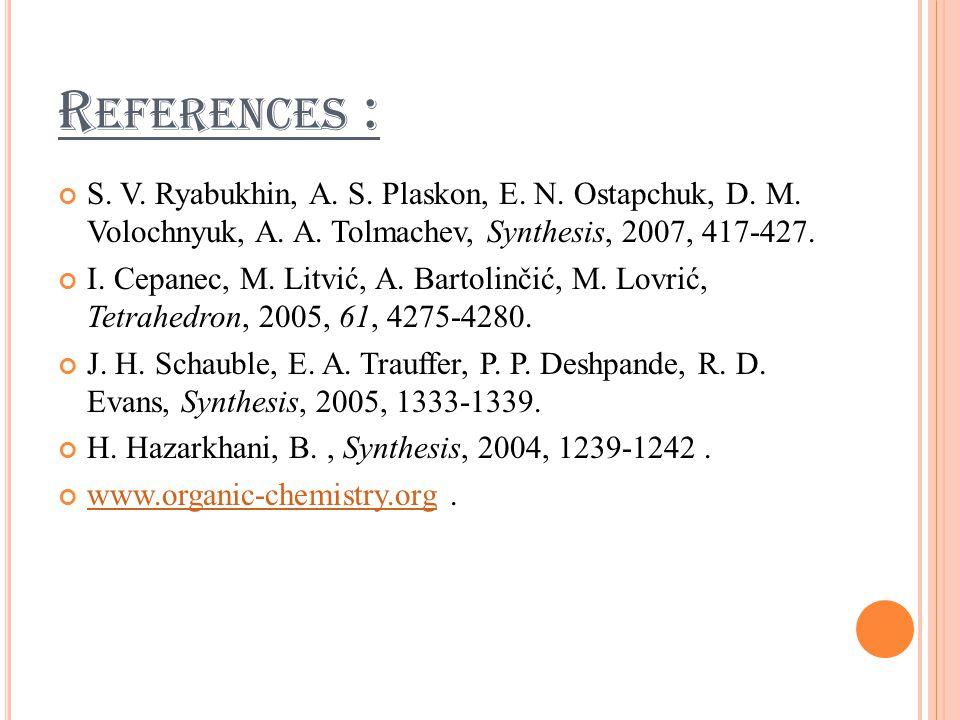 R EFERENCES : S. V. Ryabukhin, A. S. Plaskon, E.