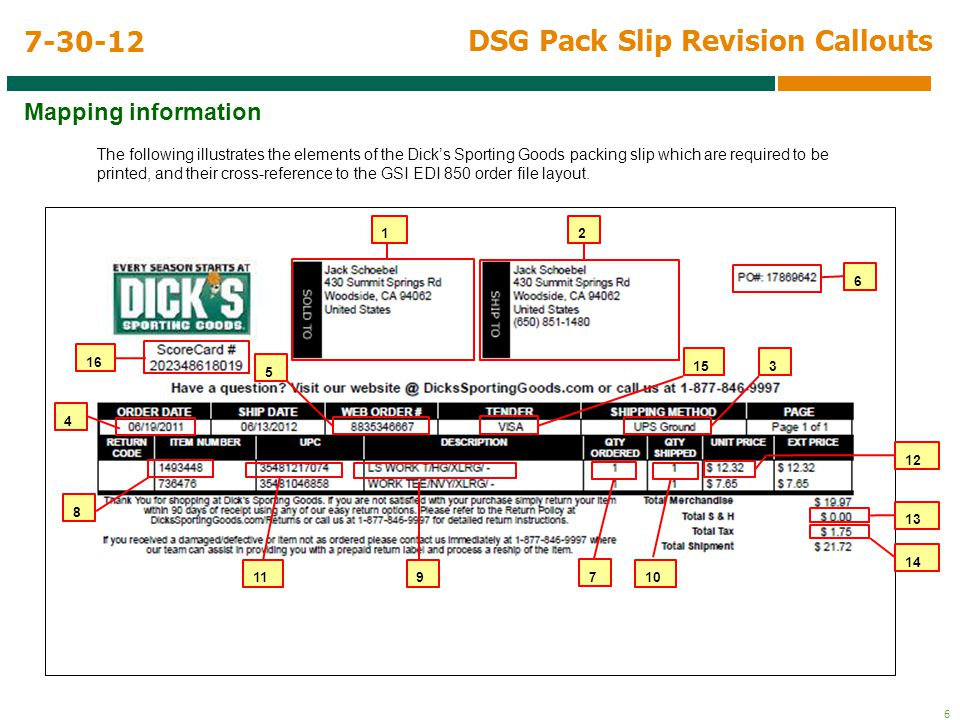 6 DSG Pack Slip Revision Callouts Mapping information 7-30-12 The following illustrates the elements of the Dick's Sporting Goods packing slip which are required to be printed, and their cross-reference to the GSI EDI 850 order file layout.