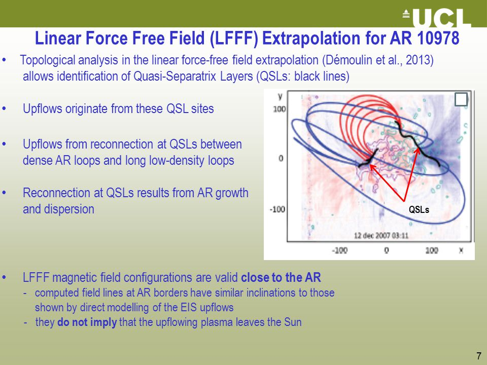 7 Linear Force Free Field (LFFF) Extrapolation for AR 10978 Topological analysis in the linear force-free field extrapolation (Démoulin et al., 2013)
