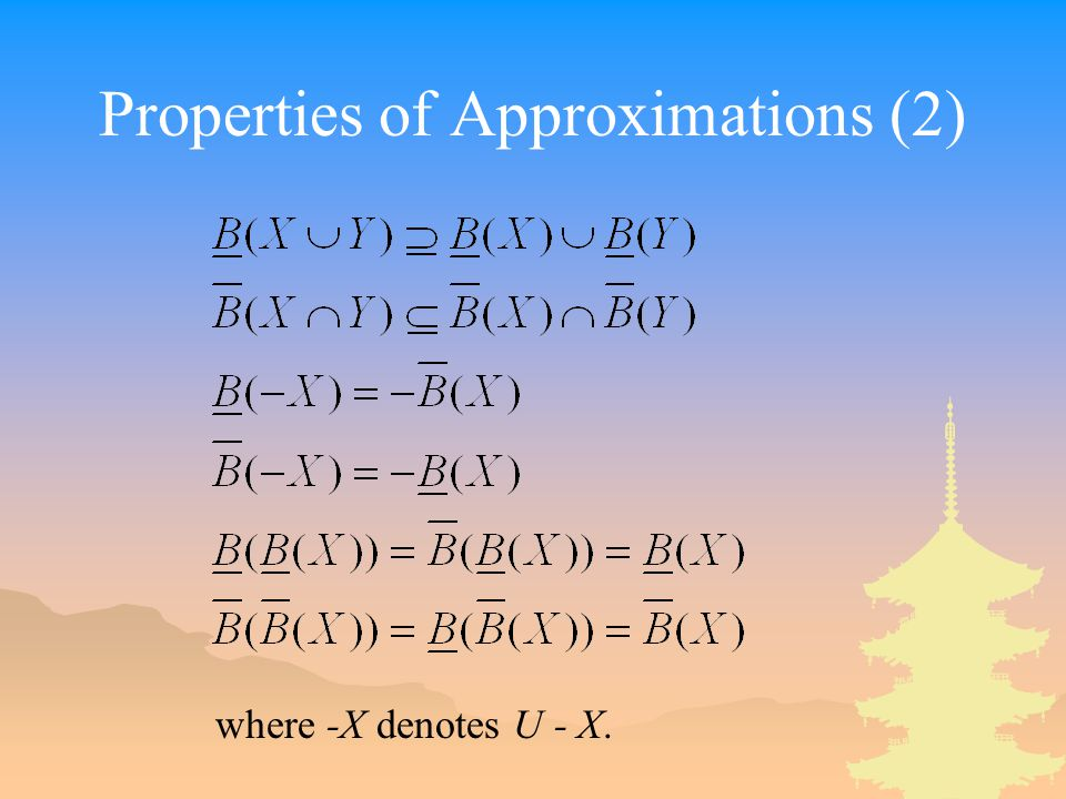 Properties of Approximations (2) where -X denotes U - X.