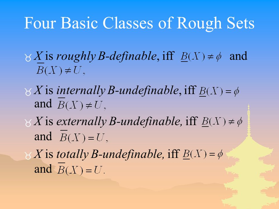 Four Basic Classes of Rough Sets _ X is roughly B-definable, iff and _ X is internally B-undefinable, iff and _ X is externally B-undefinable, iff and _ X is totally B-undefinable, iff and
