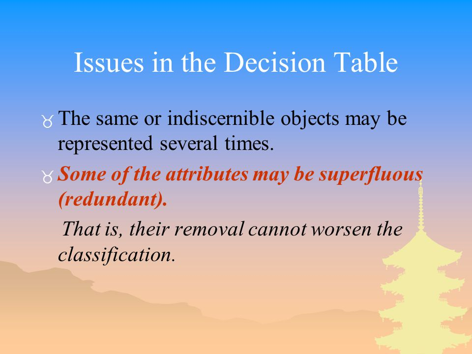Issues in the Decision Table _ The same or indiscernible objects may be represented several times.