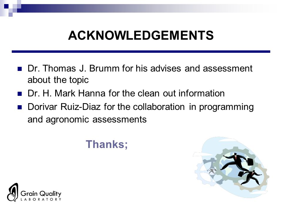 ACKNOWLEDGEMENTS Dr. Thomas J. Brumm for his advises and assessment about the topic Dr.