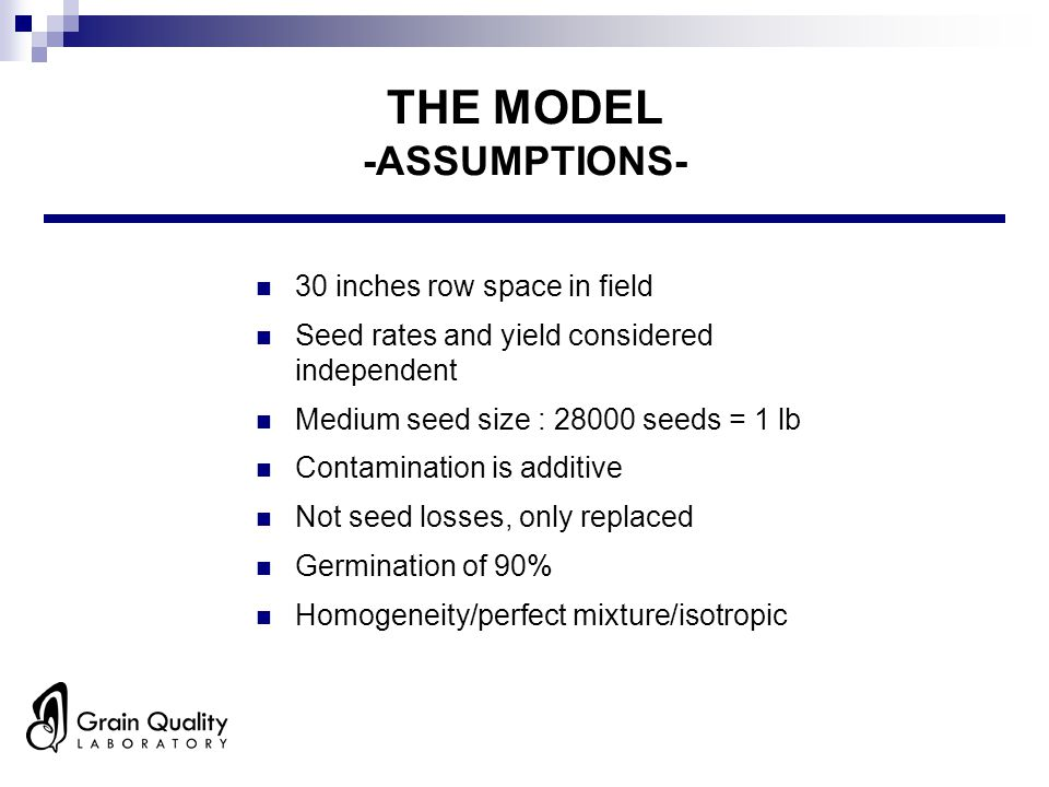 THE MODEL -ASSUMPTIONS- 30 inches row space in field Seed rates and yield considered independent Medium seed size : 28000 seeds = 1 lb Contamination is additive Not seed losses, only replaced Germination of 90% Homogeneity/perfect mixture/isotropic