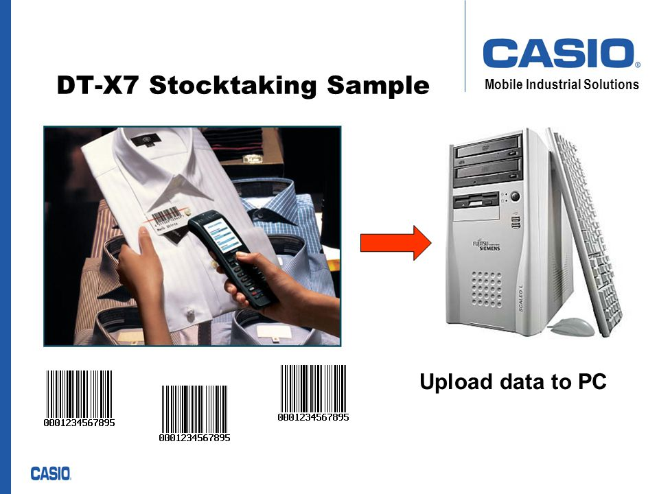Mobile Industrial Solutions Workflow Get user name, rack number, and article numbers Deactivate certain records due to wrong input Write all data to specific files Upload data files to PC by using Casio LMWin communication software