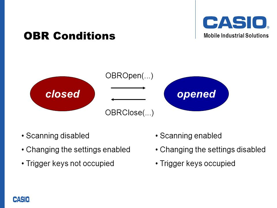 Mobile Industrial Solutions OBR Conditions closedopened Scanning disabled Changing the settings enabled Trigger keys not occupied Scanning enabled Changing the settings disabled Trigger keys occupied OBROpen(...) OBRClose(...)