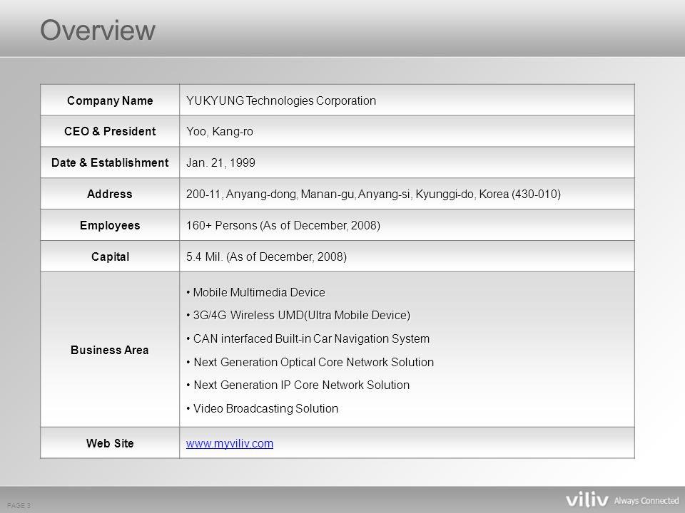 PAGE 3 Company Name YUKYUNG Technologies Corporation CEO & President Yoo, Kang-ro Date & Establishment Jan.